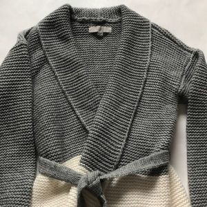 LOFT Sweaters - Loft Grey/Cream Cardigan with fringe detail